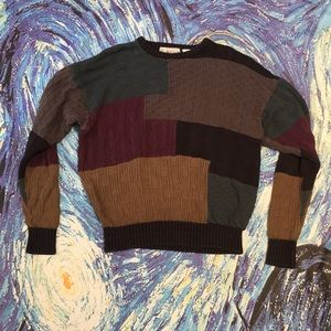 Vintage Color Block Green Blue Bulky Sweater